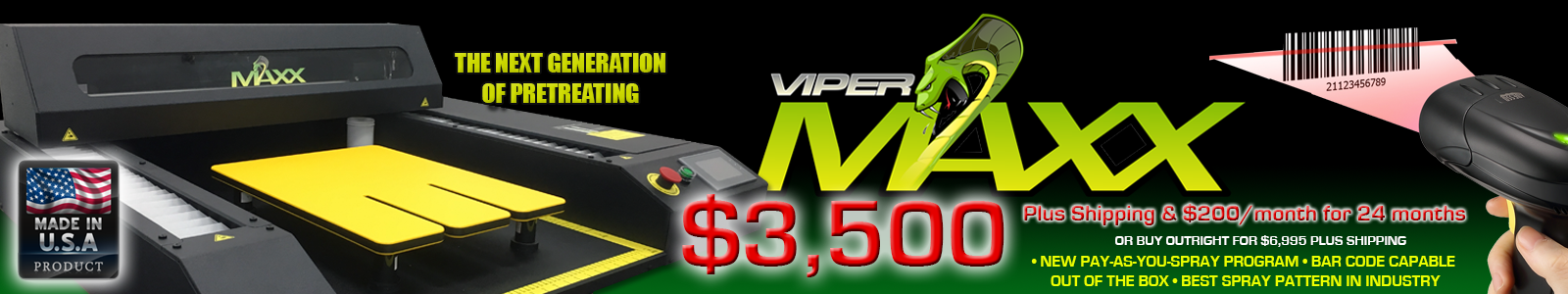 Viper MAXX pretreatment machine - pay as you spray